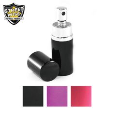 This 3/4 oz. Streetwise 18 pepper spray comes encased in a round shell with a lid for a safety cap and appeares to be harmless perfume, which allows you to take it anywhere and gives you the element of surprise when being attacked. Comes in a variety of colors.