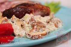 Rókagomba mártás bulgurral, ropogós sertéscsülökkel -recept- Shrimp, Chicken, Recipes, Food, Bulgur, Recipies, Essen, Meals, Ripped Recipes