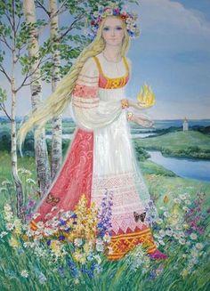 "LADA - Russian Goddess/ Slavic mythology by Igor Ozhiganov. Lada is the name of a Slavic deity of harmony, merriment, youth, love and beauty. ""May you live in Lada"" Eslava, Goddess Of Love, Russian Folk, Light Spring, Beltane, Mythological Creatures, Illustrations, Gods And Goddesses, Beauty Art"