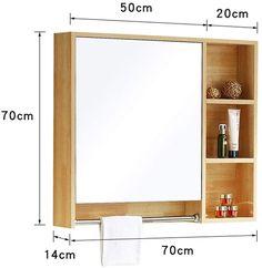 Diy Bathroom Mirror Cabinets, Vanity Mirrors, Bathroom Storage Shelves, Wall Mounted Vanity, Wood Bathroom, Bathroom Mirror With Storage, Medicine Cabinet Mirror, Medicine Cabinets, Toothbrush Holder