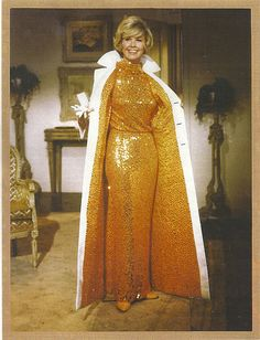"""2/08/14 1:50a 20th Century Fox """"Do Not Disturb"""" Doris Day Golden/Bronze Sequin Gown with Matching White Coat Released: 12/1965"""
