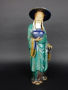 Large Antique Chinese glazed Mudman statue 15.25 inches RARE size #Chinese