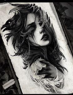 Dark Art Drawings, Tattoo Design Drawings, Tattoo Sketches, Tattoo Designs, Tatoo Art, Body Art Tattoos, Sleeve Tattoos, Cool Tattoos, Girl Face Tattoo