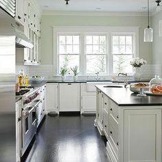 Traditional Home - kitchens - Benjamin Moore Cloud White shaker kitchen cabinets, Ann Sacks subway tiles, Rohl pot filler, honed black granite countertops