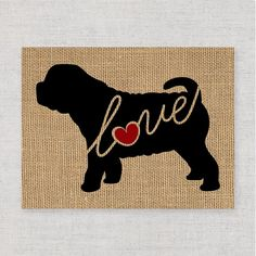 Shar Pei Shar-pei Love Burlap or Canvas / by TraciWithaniDesigns Dog Lover Gifts, Dog Gifts, Dog Lovers, Dog Silhouette, Shar Pei, Pet Shop, Canvas Art Prints, Animals And Pets, Burlap