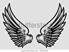 Find Hand Drawn Wing Vector Illustration stock images in HD and millions of other royalty-free stock photos, illustrations and vectors in the Shutterstock collection. Thousands of new, high-quality pictures added every day. Neck Tattoo For Guys, Tattoos For Guys, Tribal Tattoos, Hand Tattoos, Skull Coloring Pages, Ganesha Tattoo, Wing Tattoo Designs, Art Drawings Beautiful, Illustration