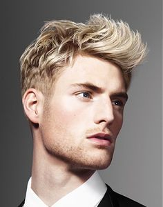 short blonde straight spikey coloured multi-tonal quiff PLATINUM-BLONDE Gents Mens hairstyles for men