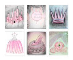 Princess children's Wall Art SET OF 6 Art Prints, Cinderella, Princess, Baby Girl Nursery Art, Custom Name, Pink Gray, Princess Kids Decor