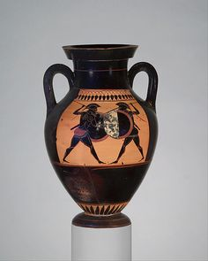 amphora (jar) Amphora, ca. 530 B. black-figure Attributed to the manner of the Lysippides Painter Greek, Attic TerracottaAmphora, ca. 530 B. black-figure Attributed to the manner of the Lysippides Painter Greek, Attic Terracotta Ancient Greek Art, Ancient Greece, Greek History, Art History, Black History, Pottery Painting, Pottery Vase, Classical Greece, Greek Pottery