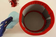 How to make a fez out of felt. Once complete cover with red Mardi Gras beads.