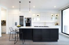 Western Myall paint pencil edge kitchen transitional with freedom kitchens wooden kitchen cabinetry Kitchen Cabinet Colors, New Kitchen Cabinets, Wooden Kitchen, Black Kitchens, Home Kitchens, White Shaker Kitchen, Navy Kitchen, Design Your Kitchen, Home Decor Kitchen