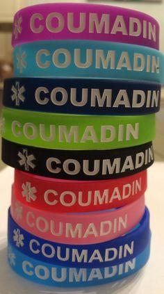 "Warfarin Coumadin Medical Alert Bracelet 100% Silicone Adult Size 8"" in Jewelry & Watches, Fashion Jewelry, Bracelets | eBay"