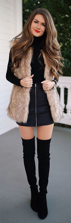 #winter #outfits black long-sleeved mini dress