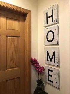 Large Scrabble Letters, Scrabble Tiles, Scrabble Crafts, Rustic Italian, Italian Home, Boho Decor Diy, Luxe Decor, Distressing Chalk Paint, Home Signs