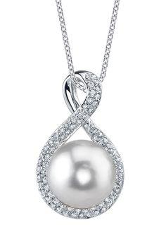 14K White Gold 11mm White South Sea Pearl & Diamond Pendant Necklace