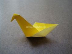 Origami Easy Bird Step by Step Instruction. Easy for Kids to Fold