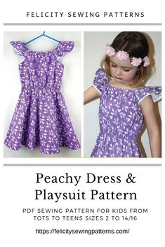 PDF Sewing Pattern for kids dress, jumpsuit, romper, shorts, top; multiple style options in one easy pattern sizes 2 to 14/16 years by Felicity Sewing Patterns