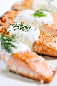 Salmon with avocado butter sauce
