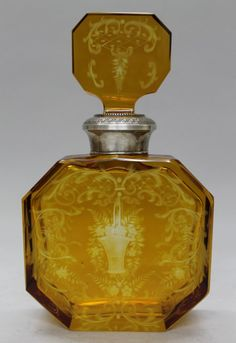 19TH C. MOSER AND STERLING SILVER TOP PERFUME BOTTLE
