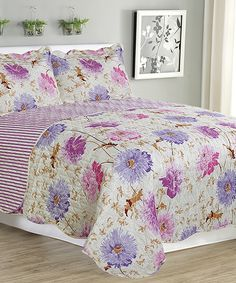 Purple Jennifer Three-Piece Reversible Quilt Set