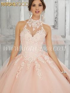 BLUSH PINK LACE EMBROIDERY HALTER QUINCEANERA DRESS | ONE TULLE Follow us on instagram for daily updates @moda_2000