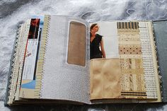 Pages are made from old books and magazines, brown paper bags, recycled mail envelopes, maps, and other found paper.