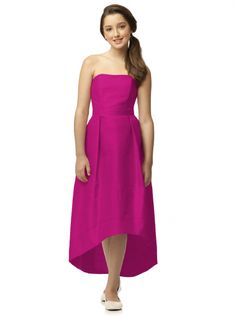 4524f925e7 Dessy Collection Junior Bridesmaid style JR 521 is a Full length strapless  peau de soie junior dress w  matching belt at natural waist and subtle  high-low ...