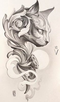 Tattoo sketches 515732594830977036 - large cat head drawing, tattoo designs for women, black and white drawing, white background Source by maxjesus Tattoo Chat, Diy Tattoo, Tatoo Art, Cat Tattoo Designs, Tattoo Design Drawings, Tattoo Sketches, Tattoo Under Chest, Tatuagem Diy, Filigree Tattoo