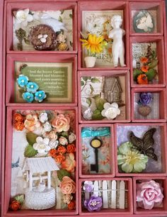 Secret Garden inside Tim Holtz book box - Scrapbook.com  This Configuration Book was decorated with Graphic 45's Secret Garden Collection.