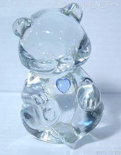 Fenton Art Glass Crystal Birthday Birthstone Bear March AquaMarine Blue  (FF)