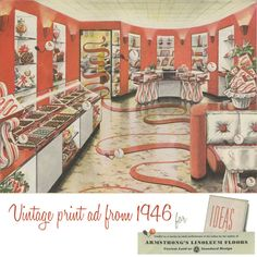 That time we redesigned Willy Wonka's house. Armstrong ad from 1946. Vintage Advertisements, Vintage Ads, Vintage Prints, Home Design Decor, House Design, Interior Design, 1950s Decor, Armstrong Flooring, Retro Candy