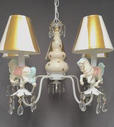 Buy Porcelain Clown Horse Carousel Lamp brass Chandelier Vintage Rose Children Room at online store Kids Room Chandelier, Kids Bedroom Lights, Brass Chandelier, Vintage Chandelier, Chandelier Lighting, Chandeliers, Porcelain Dolls For Sale, Edwardian House, Contemporary Chandelier