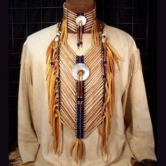 Hairpipe Mother of Pearl Breastplate Choker Set - Lost River Trading Co. $399
