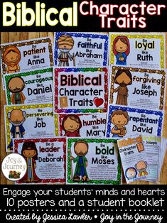 Teach your students about important Bible characters and specific character traits that they exhibited. Engage your students' hearts and minds with this Bible study that encourages the development of desired character traits. These Bible character traits poster packet is the perfect thing for a Christian school, homeschool, or Sunday school classroom. Created by Jessica Lawler * Joy in the Journey