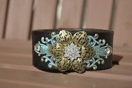 Brown and Blue Floral Leather Cuff Bracelet