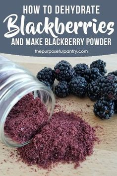 How To Dehydrate Blackberries And Make Blackberry Powder. Hoist Your Yogurt, Ice Cream, Muffins And Salad Dressings With These Easy Steps To Dehydrate And Use Blackberry Powder. Do It Yourself Food, Cocina Natural, Homemade Spices, Homemade Seasonings, Homemade Breads, Dehydrator Recipes, Fruit Dehydrator, Dehydrated Food, Canning Recipes