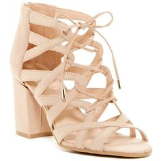 Franco Sarto Meena Block Heel Sandal ($50) ❤ liked on Polyvore featuring shoes, sandals, beige, block heel sandals, beige sandals, zip back sandals, strappy lace up sandals and open toe shoes