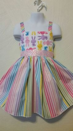 Bunny and Rainbow Stripe Ruffle Dress - Girls - Casual - Party - Play - Spring - Summer - clothing for kids - girls dresses -  easter dress