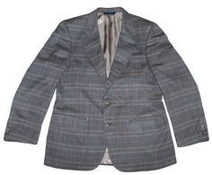 Burberrys Italy Windowpane Blazer Suit Sport Jacket Coat Wool Plaid Mens 42R 52R #Burberry #2ButtonFront