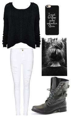 """""""Black & White"""" by crazychick4 ❤ liked on Polyvore featuring beauté, Frame Denim et Casetify"""