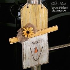 So cute and easy to make  fence picket scarecrow