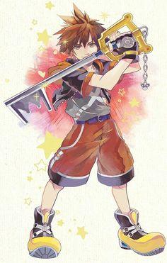 Sora from Kingdom Hearts Sora Kh, Kingdom Hearts Fanart, Kingdom Hearts Keyblade, Kingdom Hearts Characters, Kh 3, Kindom Hearts, Shall We Date, Video Game Art, Disney Drawings