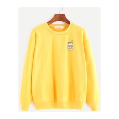 Yellow Cartoon Print Dropped Shoulder Seam Sweatshirt (£9.88) ❤ liked on Polyvore featuring tops, hoodies, sweatshirts, sweaters, yellow top, comic book, drop shoulder tops, drop shoulder sweatshirt and yellow sweatshirts