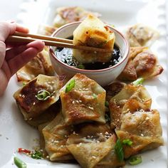 "foodffs: ""Easy Asian Dumplings with Sesame Hoisin Dipping Sauce Really nice recipes. Every hour. Think Food, I Love Food, Good Food, Yummy Food, Tasty, Vegetarian Recipes, Cooking Recipes, Healthy Recipes, Vegetarian Dim Sum"