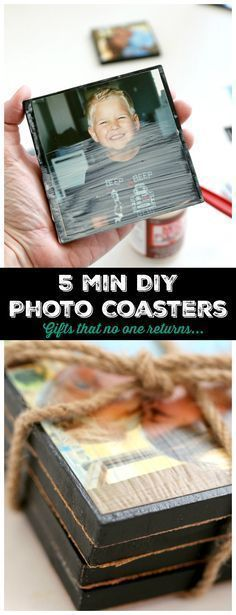 5 minute DIY Photo Coasters - DIY Photo Coasters : 5 minutes of Crafting for a gift that never gets returned, tell them you love them with photographs<br> Diy photo coasters step by step tutorial makes easy 5 minute craft with photo transfers Diy Holiday Gifts, Homemade Christmas Gifts, Christmas Diy, Christmas Hamper, Christmas Projects, Handmade Christmas, Christmas Decorations, Xmas, Diy Photo