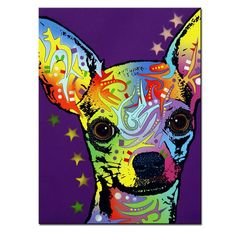 Multi-color Chihuahua Portrait Printed on Canvass