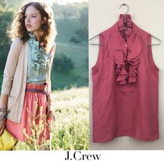 59e421ef173592 J crew Francis silk cami J crew silk ruffle blouse no damages excellent pre  loved condition
