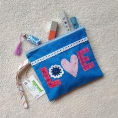 Zipper pouch, wristlet, toiletry bag, applique bag, cotton zipper pouch, unique and handmade, LOVE bag by jamallu on Etsy