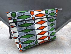 trousse de toilette en tissu africain orange et vert  : Trousses par ainsi-futile