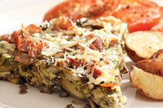 Packed with a flavorful medley of chewy wild rice and three kinds of mushrooms, this frittata is great any time of day.